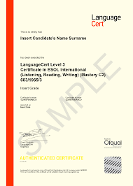 LanguageCert Certificate sample